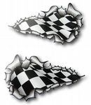 X-Large Long Pair Ripped Torn Metal Design With Flying Chequred Flag Motif External Vinyl Car Sticker 300x170mm each